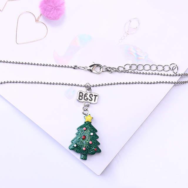 Frohe Weihnachten Anhänger.Stränge Bff Halsketten Schmuck 2 Teile Satz Frohe Weihnachten Charms Nette Weihnachten Baum Paar Anhänger Chocker Halskette Für Kinder Geschenk