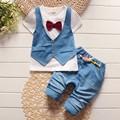 Summer 2016 fashion Kids fake two 2pcs clothes suit Baby Boy T-shirt Top+Short pants outfit set children gentleman Clothing Sets