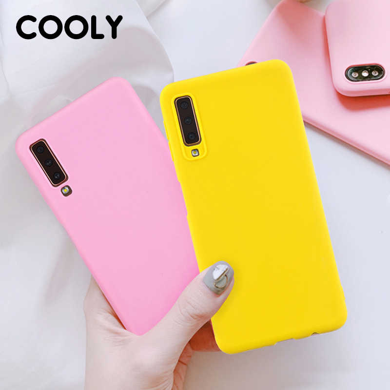 COOLY Silicone Case For Samsung Galaxy A7 2018 Cases For Samsung A6 A8 Plus A9 2018 Coque Soft TPU Candy Color Matte Phone Cover