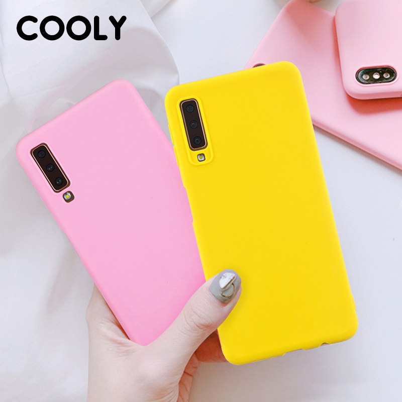 COOLY Silicone Case For <font><b>Samsung</b></font> Galaxy <font><b>A7</b></font> <font><b>2018</b></font> Cases For <font><b>Samsung</b></font> A6 A8 Plus A9 <font><b>2018</b></font> Coque Soft TPU Candy Color Matte Phone Cover image