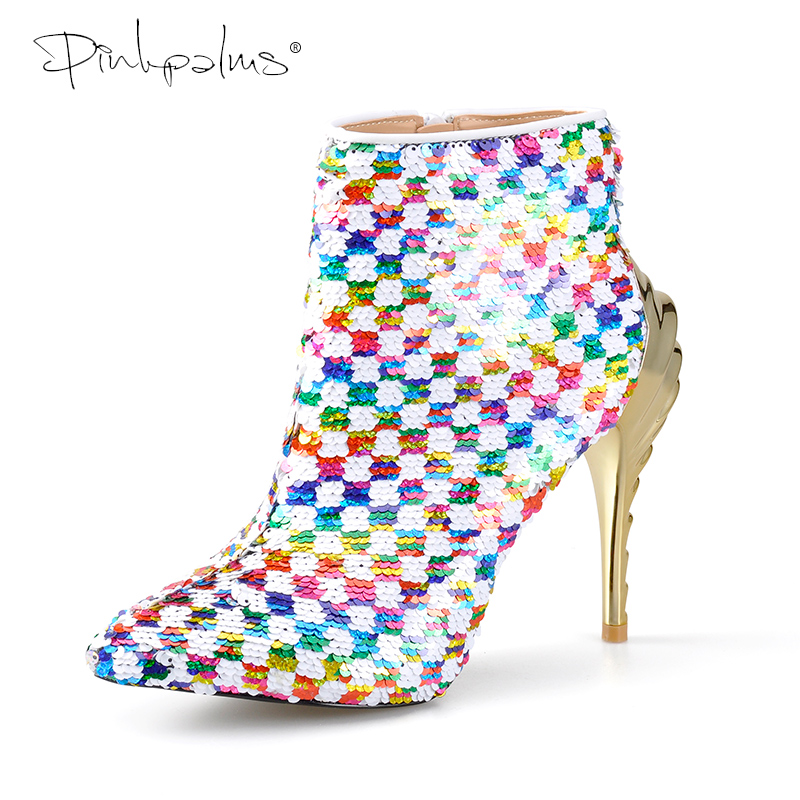 Pink Palms Shoes Women Winter Boots White Multi Color Sequined Cloth High Heels Ankle Boots Pointed