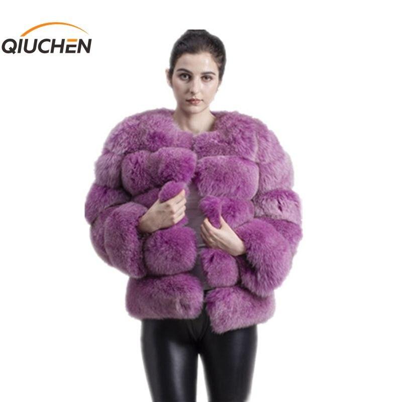 QIUCHEN PJ8081 2019 nuevo modelo de abrigo de piel de zorro real de mujer de manga larga de moda traje de piel de alta calidad abrigo de invierno para mujer
