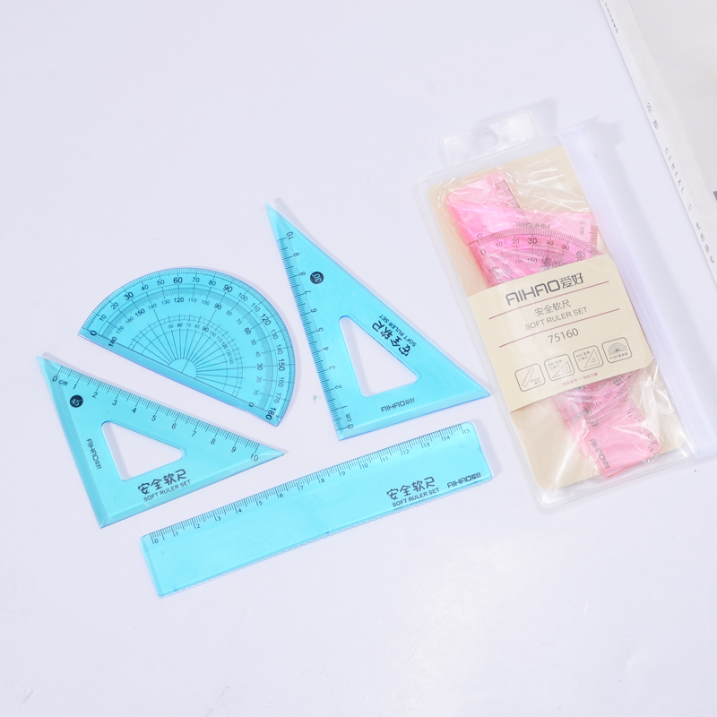 New 4 Pcs/set Straight Ruler Protractor Students Math Geometry Soft Bendable Plastic Triangle A Variety Of Rulers Supplies