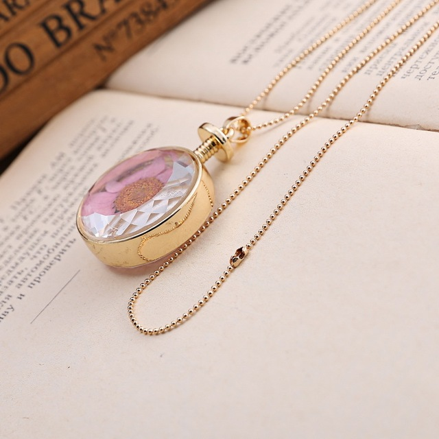 Dried Flowers  Square Pendant Necklace