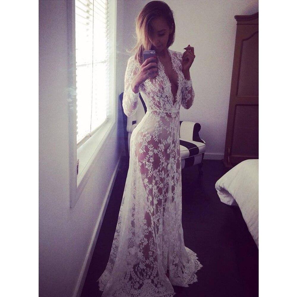 2017 White Beach Dress Long Lace Dress Pregnant Dress Women Pregnant Photography Props Transparent Lace Dress Pregnancy Pajamas