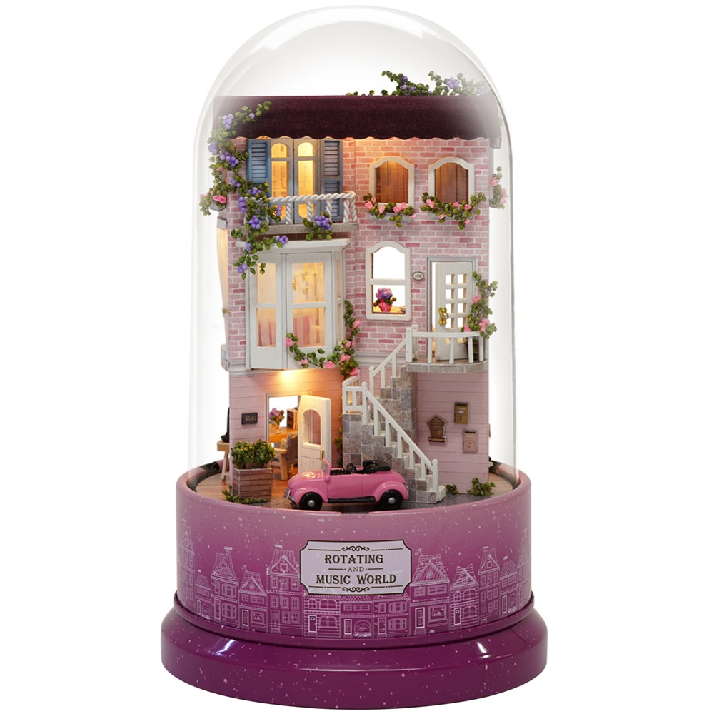 Dollhouse Miniature DIY Doll House With Furnitures Wooden House Toys For Children Birthday Gift With Dust Cover Music B31