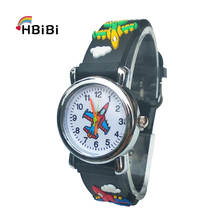 Cartoon aircraft Lovely Kids Watches For Girls Boys Gift Clock Children
