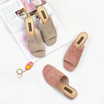 Donna-in Mules High Heels Peep Toes Genuine Leather Sandals Women Summer Flip Flops Shoes 2020 Slides Women Slippers Outdoor 3