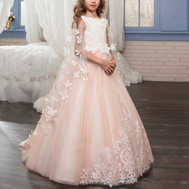 Robe de princesse élégante pour les filles première Communication fête mariage robes de demoiselle d'honneur pour les enfants traînant longue robe de filles gonflées