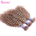 27# Blonde Curly Hair Extensions Brazilian Kinky Curly Virgin Hair Bundle 3pcs Lot Blonde Kinky Curly Hair Weave Free Shipping
