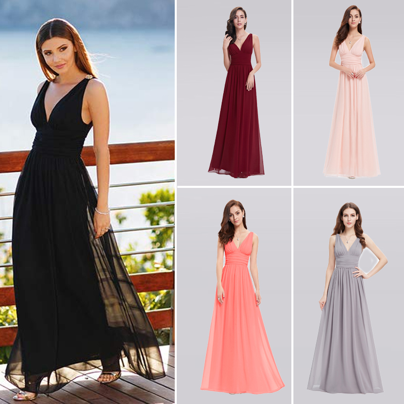 Elegant Long Evening Dresses EB26109 Cheap V-Neck Sleeveless A-line Chiffon 2020 Special Occasion Gowns Vestido Longo De Festa