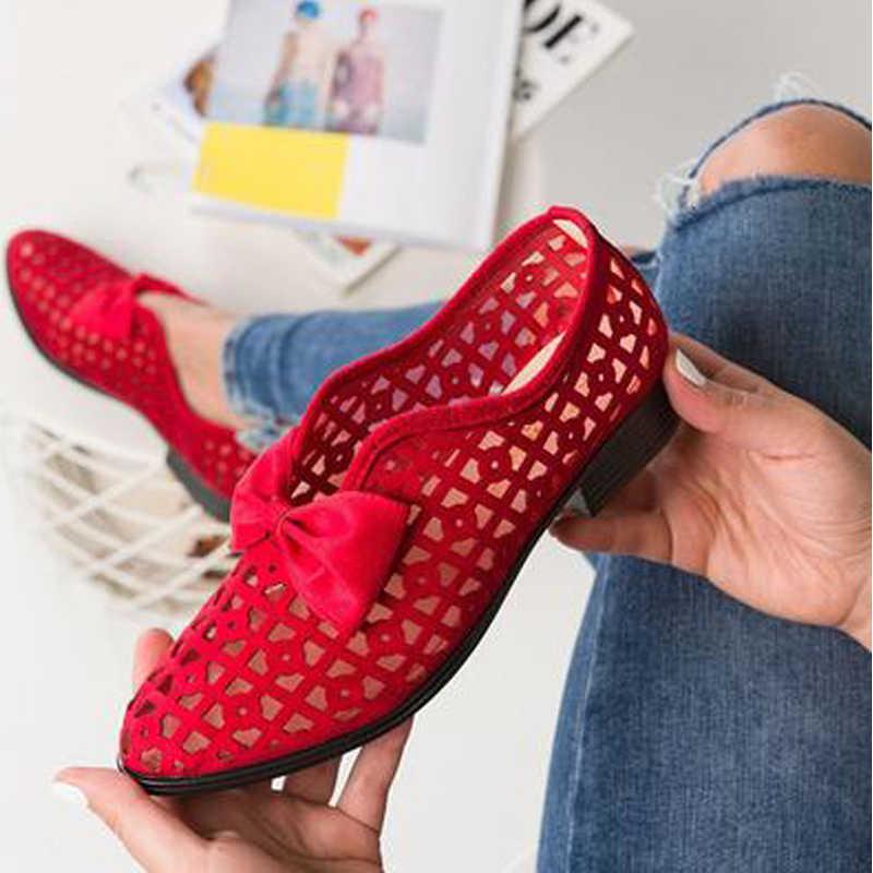 Mùa Xuân Bowtie Mũi Nhọn Nữ Bơm Giày Dành Cho Người Phụ Nữ Nền Tảng Slip On Loafer Da Feminino Zapatos De Mujer 2019
