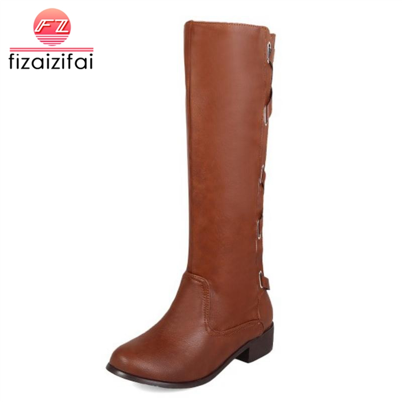 Mujeres Negro Fizaizifai Invierno 33 Hebilla Correa Plus Rodilla Zapatos Calzado amarillo Botas Redonda marrón De Cruz Plataforma Mujer Punta 50 Caliente qtctUnvr