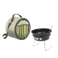 JZ018 Outdoor Mini Portable BBQ Grill Double Layer Charcoal Oven With High Carbon Steel Party DIY