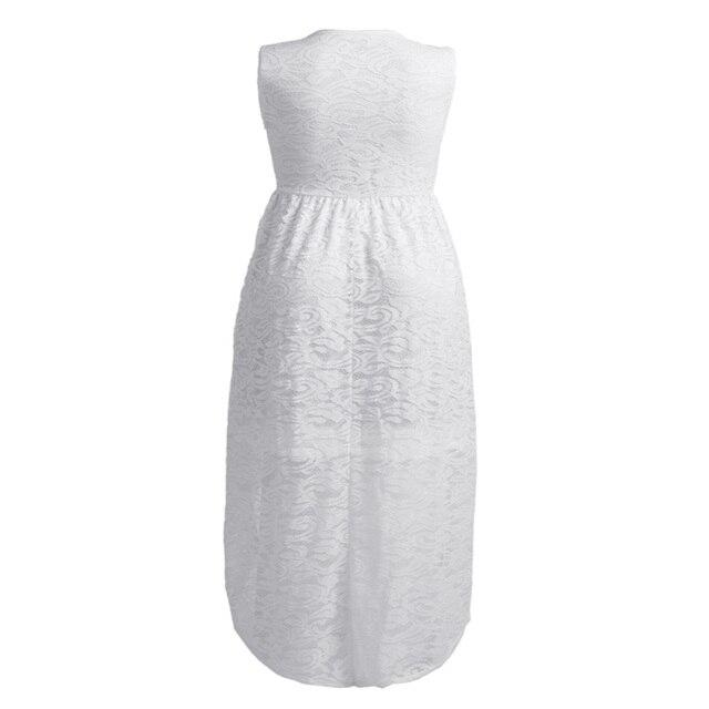Plus Size Women Dress Lace White Summer Long Dress Casual 2018 Sun Dress Sleeveless V-Neck XXXXL XXXL Womens Beach Dresses 5