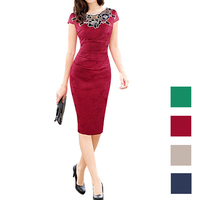 Women embroidery Elegant fabric Hollow out embroidered Ruched Pencil Evening Party sexy Dressess Rose decals lace stitching
