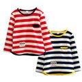 Novos meninos meninas camiseta de algodão listrado meninas camisola de manga longa crianças roupas da moda meninas camisola crianças roupas