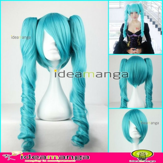 Manga Amime V+ VOCALOID Gothic style Hatsune Miku curly Cosplay Hair Wig High-temperature Resistance Fibers halloween party 65cm
