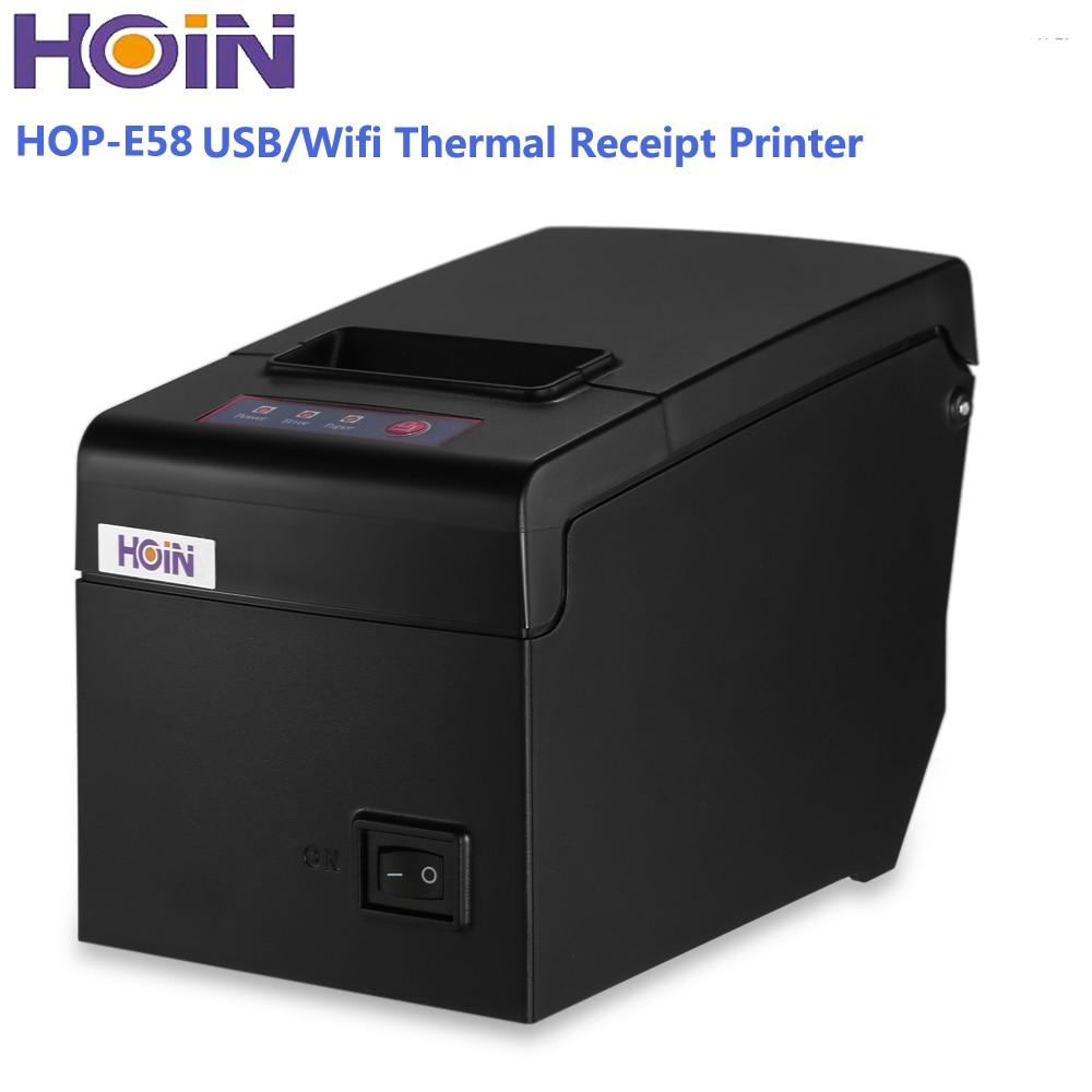 Original HOIN HOP-E58 58mm USB / WiFi Thermal Receipt Printer 130MM/S Printing ESC/POS Logo Graphic Print Support Windows/Linux