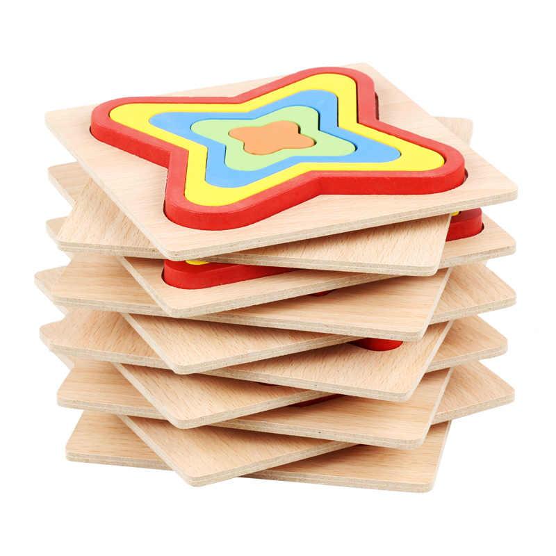 Деревянная головоломка Монтессори цвет мультфильм головоломка ребенок познавательное Обучение Образование хобби деревянные геометрические головоломки-ZMP092