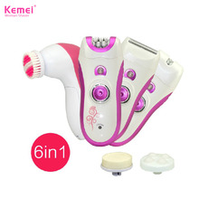 6 in1 lady shaver pilator electric remover hair removal depilador kemei face cleanser for bikini body trimmer for women device