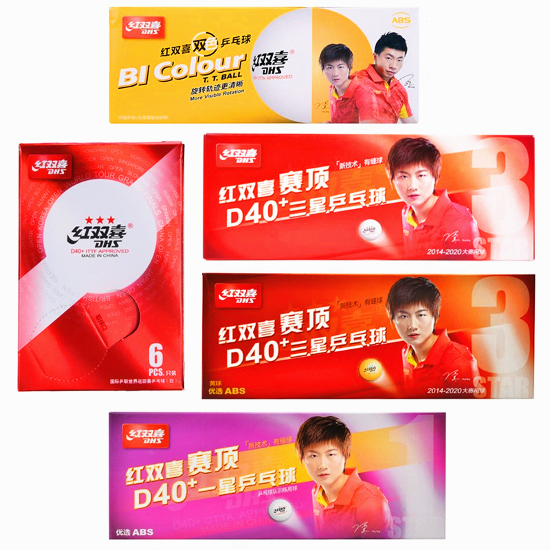 DHS Table Tennis Ball 3-star 1-star D40+ White / Orange BI Colour/ World Tour T.T ABS Plastic Poly Ping Pong Balls Tenis De Mesa