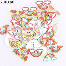 ZOTOONE 100pcs Two Holes Mix Corlor Wooden Rainbow Button Cartoon DIY Scrapbooking Crafts Decoration Sewing Accessories C