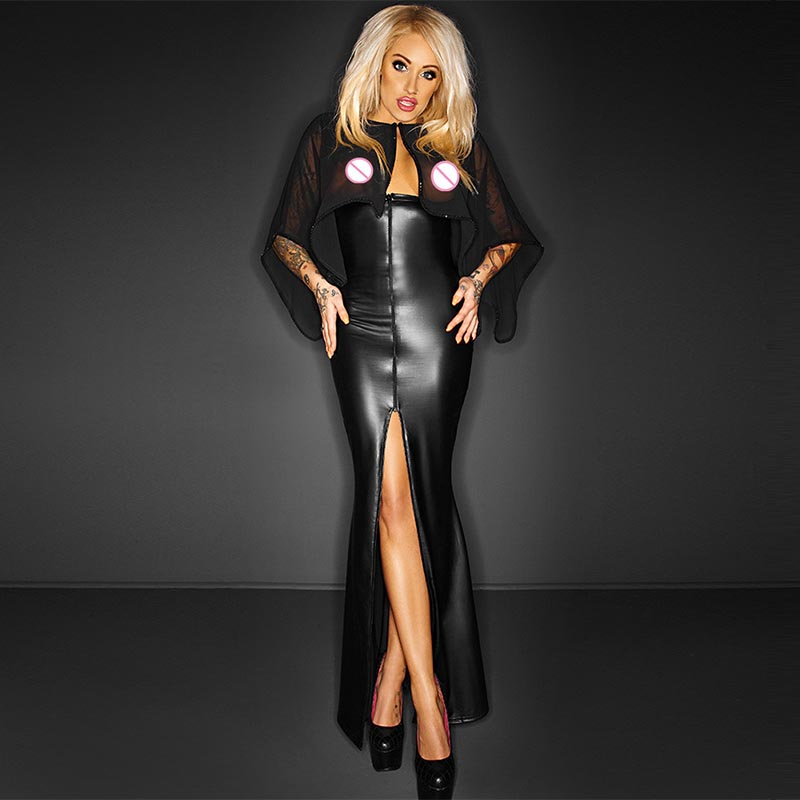 Fashion Tunic Long Maxi Dress With Cape Sexy Split Wetlook Vinyl Leather Clubwear Gothic Black See Through Club Dresses Robe