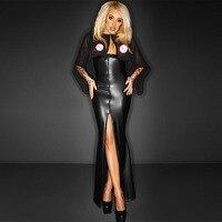 Fashion Tunic Long Maxi Dress With Cape Sexy Split Wetlook Vinyl Leather Clubwear Gothic Black See Through Club Dresses Robe