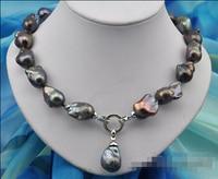 Горячая # Оптовая Бесплатная доставка> Редкий 18 25 мм барокко черный Кеши REBORN жемчужное ожерелье