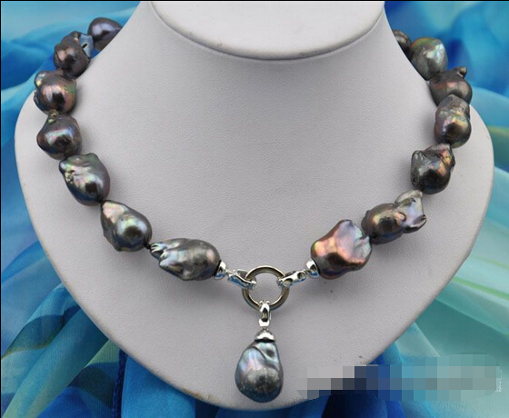 HOT## Wholesale FREE SHIPPING >>>Rare 18 25mm baroque black keshi reborn pearl necklace pendant