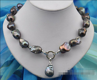 HOT## Wholesale FREE SHIPPING >>>Rare 18 25mm baroque black keshi reborn pearl necklace pendant