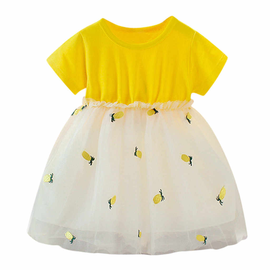 Cute Dress Girls Kids Short Sleeve Pineapple Tutu Children Cartoon Girls Clothes Outfit Kids For Girls Roupa Infantil Menina
