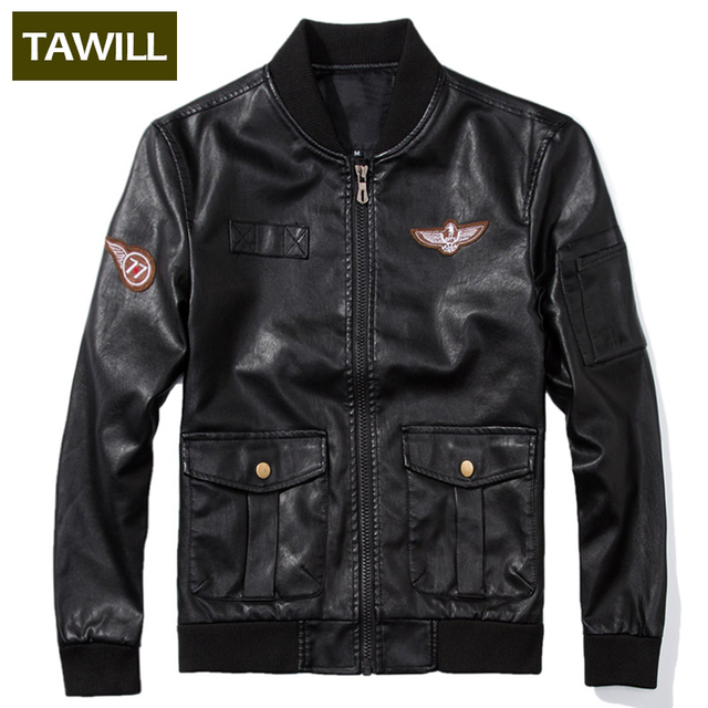 TAWILL 2016 New Arrival Motorcycle Leather Jackets Men Air force one Spring Autumn Fall Man High Quality Brand Clothing 8930