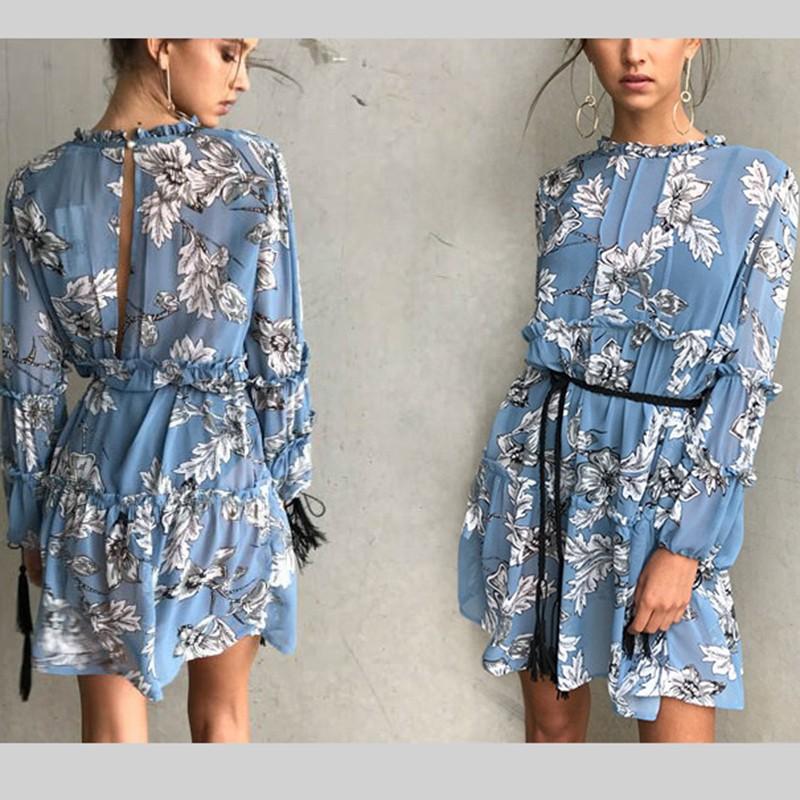 women dress Autumn winter long sleeve ruffle chiffon dress Vintage loose short dress Boho floral print tassel vestidos 14