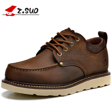 ZSuo Men's Moto Shoes waterproof Ankle Leather boots Casual Boot Motorcycle Riding Retro Rubber Sole Lace moto boot biker Boots