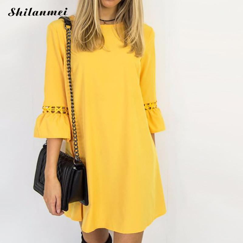 2018 Women Yellow Flare Sleeve Shirt Dress Summer Fashion O Neck Loose Hollow Elegant Woman Bloues Solid Casual Clothing Tops