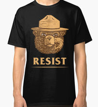 T Shirt A Day O-Neck 100% Cotton Short Sleeve  Gift Smokey Says Resist Tee For Men