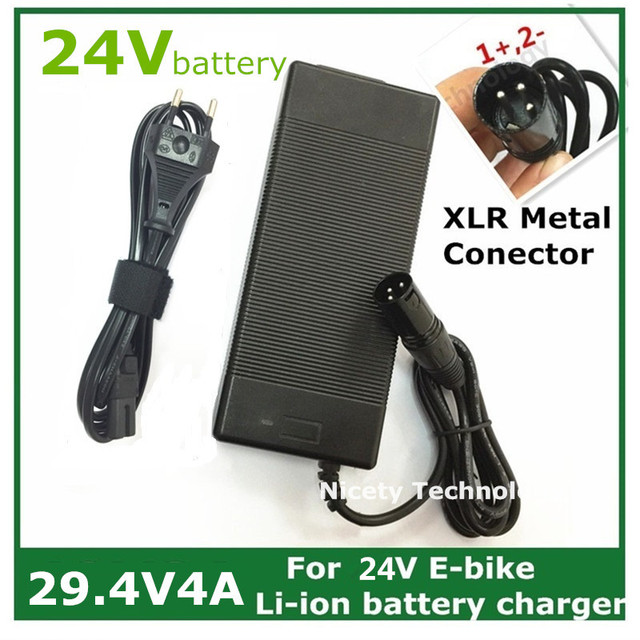 29.4V4A  electric bike  lithium battery charger  for  24V lithium battery pack XLRM Socket/connector good quality