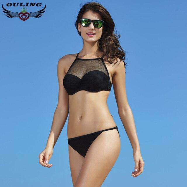 OULING новый черный сексуальные бразильские бикини с мягким 2017 сетки дизайн холтер купальник женщин росту купальники плавание