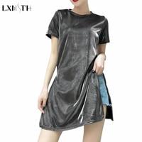 Korean Style Bright Silk T Shirt Women 2018 Summer Long Casual Shiny Basic O Neck T shirt Loose Fahsion Side Slit Tops Vestidos