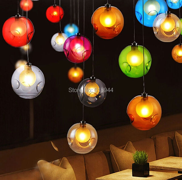 Aliexpress buy shop and home using best choice colored pendant shop and home using best choice colored pendant lighting colorful pendant light glass ball aloadofball Images