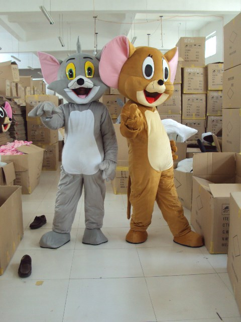 Tom Cat and Jerry Mouse mascot costume adult size Tom Cat and Jerry Mouse mascot costume ...
