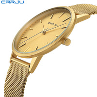 Relogio Masculino CRRJU Men Gold Watch Male Stainless Steel Quartz Golden Slim Wristwatches for Man Casual Watches Gift Clock
