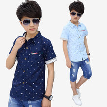 54e9a00ac2 2018 Summer Casual Shirts for Boys Collar Trend Style Children clothing  Short Sleeve Cotton Shirt Kids