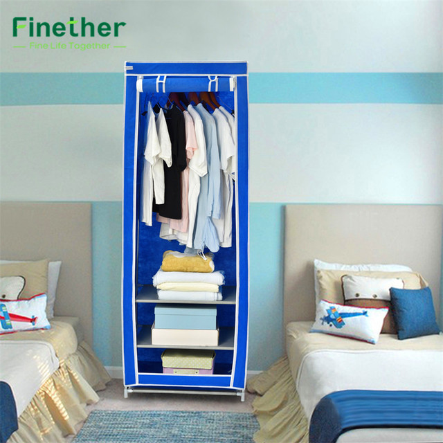 Bon Finether Non Woven Fabric Wardrobe Closet Portable Clothes Cabinet Simple  Folding Reinforcement Receive Stowed Clothes