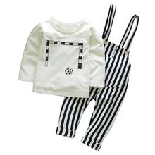 59598966e4a8a 2018 Venta caliente niño bebés niños Tops + Pants trajes fútbol imprimir  raya trajes ropa cómoda y transpirable 6