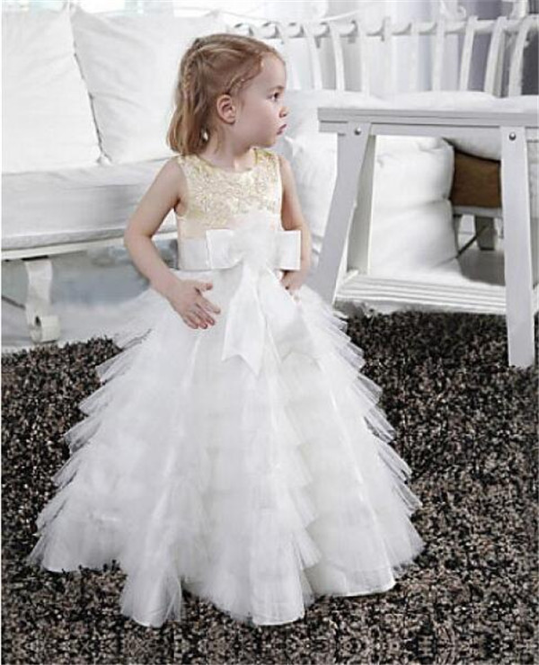 Hot Sale Lovely   Flower     Girl     Dress   For Wedding Long   Girls   Pageant Gowns Tiered Tulle First Communion Gowns Jewel Neck Sleeveless