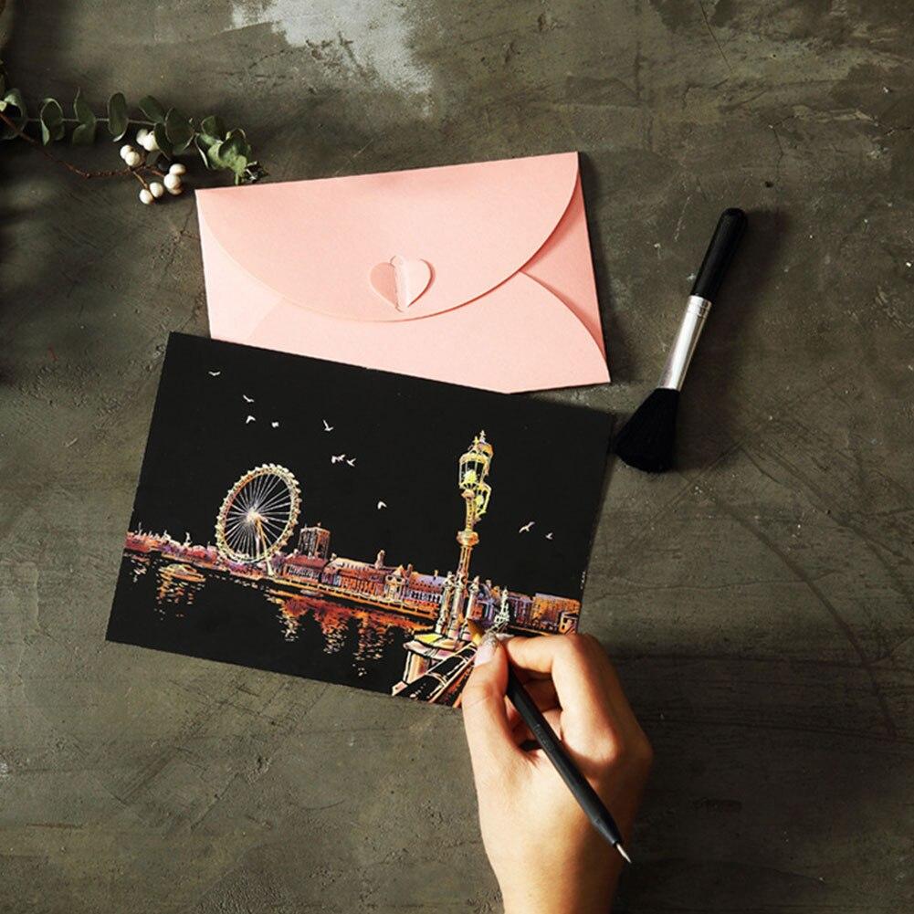 Картина с царапинами Ночной пейзаж царапина картина с черным покрытием художественная бумага Рисование детские образовательные игрушки Описание подарок интересная игрушка