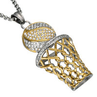 CZ Basketball Rim Pendant Necklace Stainless Steel Gold Color Chain Necklace Iced Out Women Men Sport